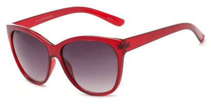 Angle of Elan #8800 in Red Frame with Smoke Lenses, Women's Cat Eye Sunglasses