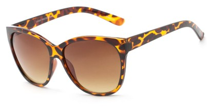 Angle of Elan #8800 in Tortoise Frame with Amber Lenses, Women's Cat Eye Sunglasses