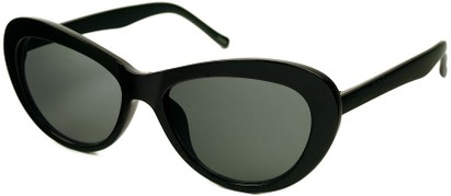 Angle of SW Cat Eye Style #412 in Black with Smoke Lenses, Women's and Men's
