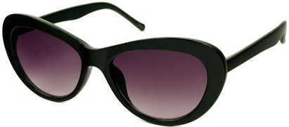 Angle of SW Cat Eye Style #412 in Black with Rose Lenses, Women's and Men's