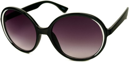 Angle of SW Round Style #415 in Black/White Frame with Smoke Lenses, Women's and Men's