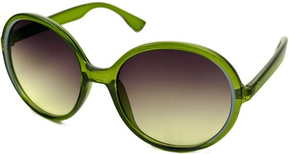 Angle of SW Round Style #415 in Green/Grey Frame with Green Lenses, Women's and Men's