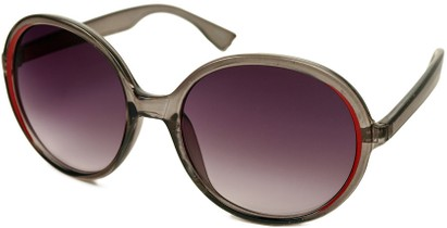 Angle of SW Round Style #415 in Grey/Red Frame with Smoke Lenses, Women's and Men's