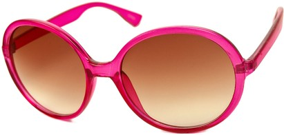 Angle of SW Round Style #415 in Hot Pink Frame with Amber Lenses, Women's and Men's