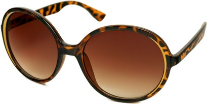 Angle of SW Round Style #415 in Brown Tortoise/Gold Frame with Amber Lenses, Women's and Men's