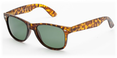 Angle of Arrowhead #8411 in Glossy Tortoise Frame with Green Lenses, Women's and Men's Retro Square Sunglasses