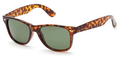Angle of Arrowhead #8411 in Matte Tortoise Frame with Green Lenses, Women's and Men's Retro Square Sunglasses