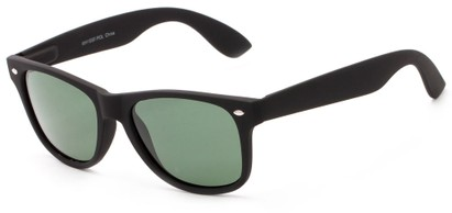 Angle of Greenland #8844 in Black with Green Lenses, Women's and Men's Retro Square Sunglasses