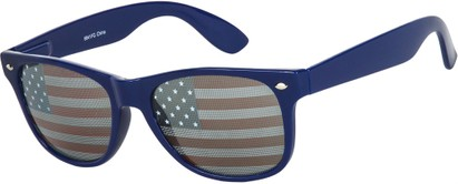 Angle of Shiprock #2166 in Blue Frame with USA lenses, Women's and Men's Retro Square Sunglasses