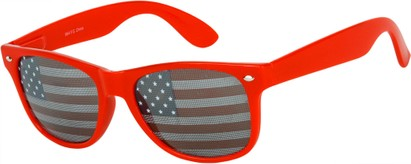 Angle of Shiprock #2166 in Red Frame with USA lenses, Women's and Men's Retro Square Sunglasses