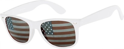 Angle of Shiprock #2166 in White Frame with USA lenses, Women's and Men's Retro Square Sunglasses