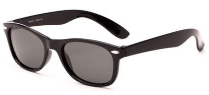 Angle of Yankee #4240 in Black Frame with Grey Lenses, Women's and Men's Retro Square Sunglasses