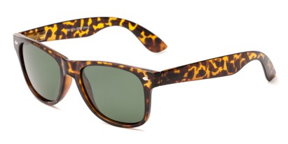 Angle of Yankee #4240 in Tortoise Frame with Green Lenses, Women's and Men's Retro Square Sunglasses