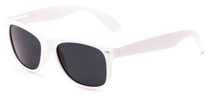 Angle of Coda #8441 in White Frame with Smoke Lenses, Women's and Men's Retro Square Sunglasses