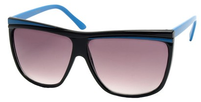 Angle of SW Oversized Retro Style #842 in Black and Blue Frame, Women's and Men's
