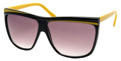 Angle of SW Oversized Retro Style #842 in Black and Yellow Frame, Women's and Men's