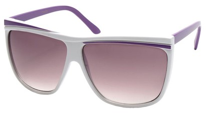 Angle of SW Oversized Retro Style #842 in White and Purple Frame, Women's and Men's