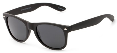 Angle of Holland #8864 in Matte Black Frame with Smoke Lenses, Women's and Men's Retro Square Sunglasses