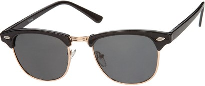 Angle of Bluegrass #2020 in Black/Gold Frame with Smoke Lenses, Women's and Men's Browline Sunglasses