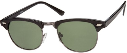 Angle of Bluegrass #2020 in Black/Grey Frame with Green Lenses, Women's and Men's Browline Sunglasses
