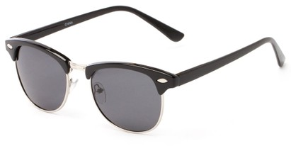 Angle of Bluegrass #2020 in Black/Silver Frame with Grey Lenses, Women's and Men's Browline Sunglasses