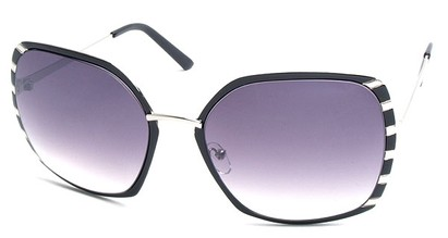 Angle of SW Oversized Style #1944 in Black and Silver Frame, Women's and Men's