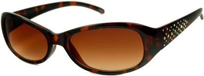 Angle of SW Rhinestone Style #476 in Tortoise Brown Frame with Amber Lenses, Women's and Men's