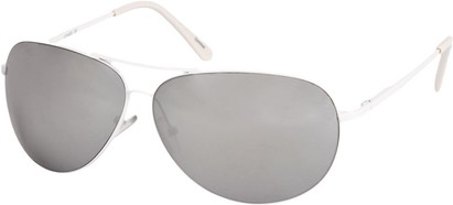 Angle of SW Mirrored Square Aviator Style #1999 in White Frame, Women's and Men's