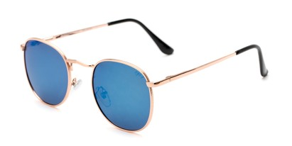 Angle of Elton #8289 in Rose Gold Frame with Blue Mirrored Lenses, Women's and Men's Round Sunglasses