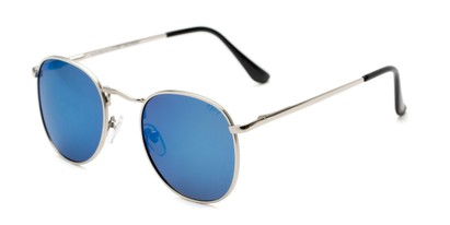 Angle of Elton #8289 in Silver Frame with Blue Mirrored Lenses, Women's and Men's Round Sunglasses