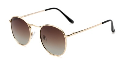 Angle of Elton #8289 in Gold Frame with Brown Gradient Lenses, Women's and Men's Round Sunglasses