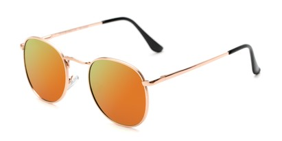 Angle of Elton #8289 in Rose Gold Frame with Orange Mirrored Lenses, Women's and Men's Round Sunglasses