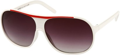 Angle of SW Kid's Retro Aviator Style #419 in White/Red Frame, Women's and Men's