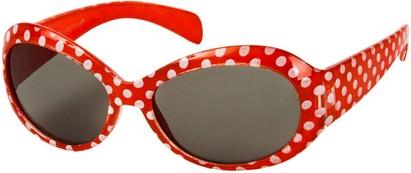 Angle of SW Kid's Polka Dot Style #9111 in Red Frame, Women's and Men's