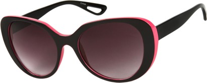 Angle of SW Retro Style #2001 in Black/Pink Frame with Smoke Lenses, Women's and Men's