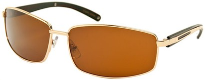 Angle of Rover #249 in Glossy Gold Frame with Amber Lenses, Men's Square Sunglasses