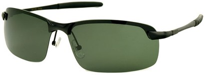 Angle of Rapid #2075 in Matte Black Frame with Green Lenses, Women's and Men's Square Sunglasses