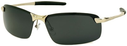 Angle of Rapid #2075 in Glossy Silver Frame with Smoke Lenses, Women's and Men's Square Sunglasses