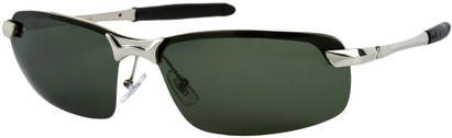 Angle of Rapid #2075 in Glossy Silver Frame with Green Lenses, Women's and Men's Square Sunglasses