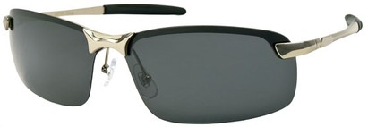 Angle of Rapid #2075 in Matte Silver Frame with Smoke Lenses, Women's and Men's Square Sunglasses