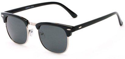 Angle of Holden #9329 in Black Frame with Grey Lenses, Women's and Men's Browline Sunglasses