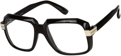Angle of SW Clear Retro Style #2195 in Glossy Black Frame with Clear Lenses, Women's and Men's