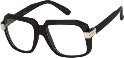 Angle of SW Clear Retro Style #2195 in Matte Black Frame with Clear Lenses, Women's and Men's