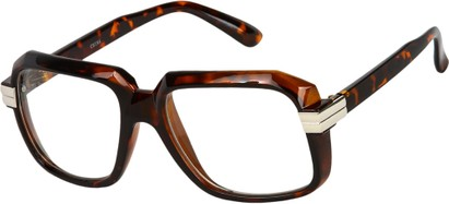Angle of SW Clear Retro Style #2195 in Tortoise Frame with Clear Lenses, Women's and Men's