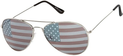 Angle of Patriot #2701 in Silver Frame with USA Lenses, Women's and Men's Aviator Sunglasses