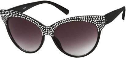 Angle of SW Rhinestone Cat Eye Style #2205 in Black Frame, Women's and Men's