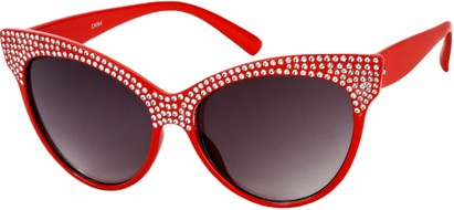 Angle of SW Rhinestone Cat Eye Style #2205 in Red Frame, Women's and Men's