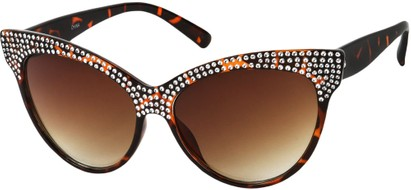 Angle of SW Rhinestone Cat Eye Style #2205 in Tortoise Frame, Women's and Men's