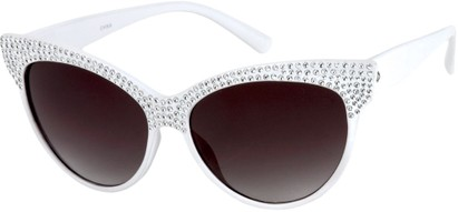 Angle of SW Rhinestone Cat Eye Style #2205 in White Frame, Women's and Men's