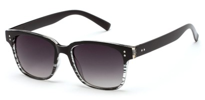 Angle of Sintra #9446 in Black/Clear Stripe Frame with Smoke Lenses, Women's and Men's Retro Square Sunglasses